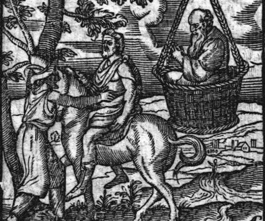 Socrate nella cesta (stampa del XVI secolo)